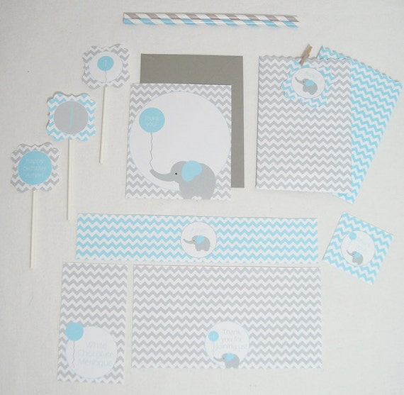 Baby Elephant Collection BLUE - DIY Printable Parties