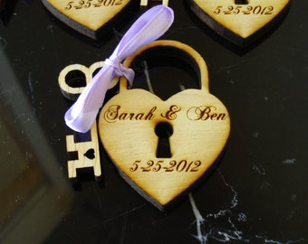 Heart and Key Wedding Favors 300 Sets