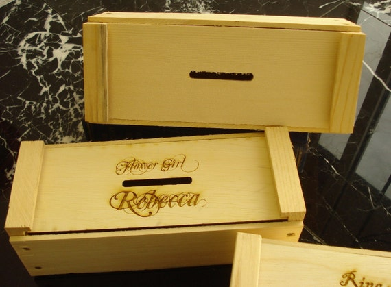 Rustic Personalized Ring Bearer or Flower Girl Bank Box