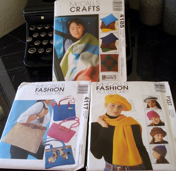Totebag, fleece hats and pillow and blanket patterns McCalls 4117 McCalls 4185 McCalls P337