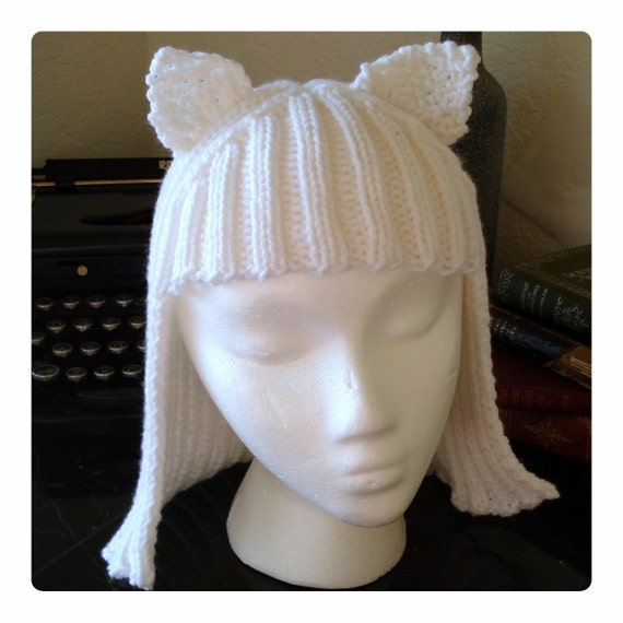 White Kitty Hat Hair Knit Wig