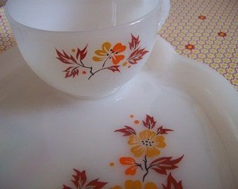 Fall colored, Retro VINTAGE orange and mustard yellow snack trey or plate with matching tea cup, milk glass