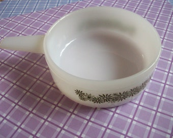 vintage round milk glass serving bowl with handle, green daisy print design, Ovenware, Free shipping in the US