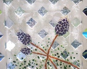 Handmade fused glass Summer Clover plate