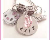Hand stamped Charm Necklace for Little Girl Princess