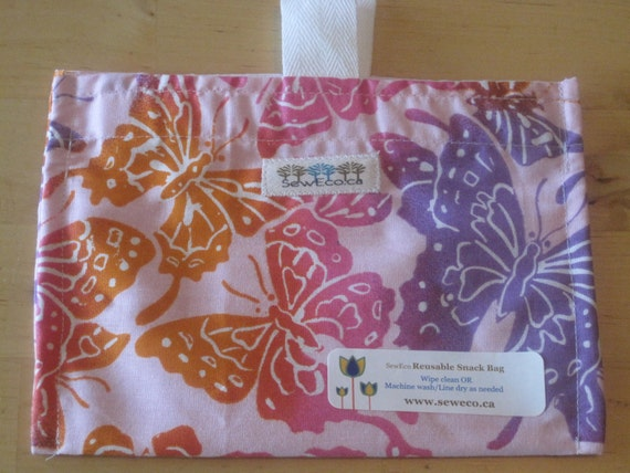Flutter By Reusable Eco Friendly Snack Bag by Seweco/Easy Open /Child Friendly Tabs/FOOD SAFE