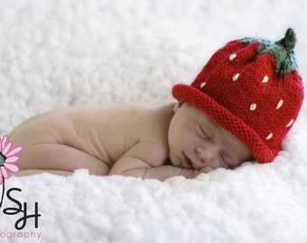 Strawberry Hat Newborn Photography Prop