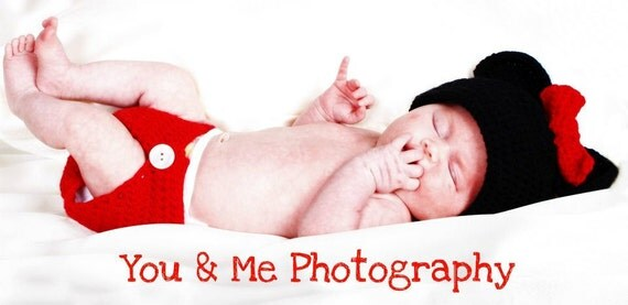 Newborn Photo Prop Mickey or Minnie 2 piece hat and diaper cover set.