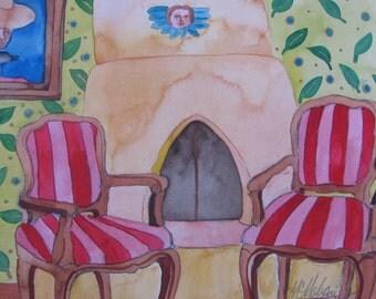 Original Watercolor Interior