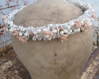 Beautiful Freshwater Pearls Vintage Czech Glass and Crystals and Flowers Bridal Headpiece