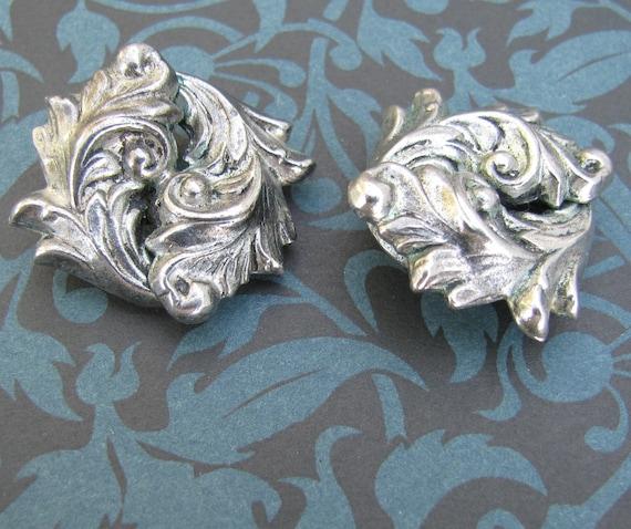 Vintage Silver Colored Metal Clip Earrings