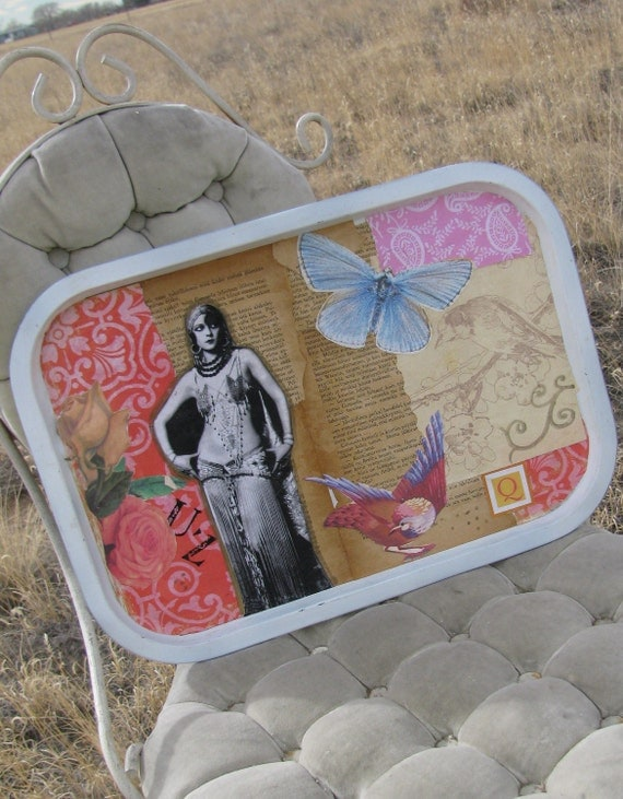 Original Collage Metal Tray Belly Dancer Butterfly