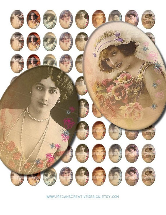Vintage Lady Portrait in Roses 25 x 18 mm Ovals Graphics Digital Collage Sheet Printable Unlimited Scrapbooking Perfect for Jewelry Making