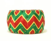 Yubinuki -Japanese Thimble Ring- Zig Zag Red Green