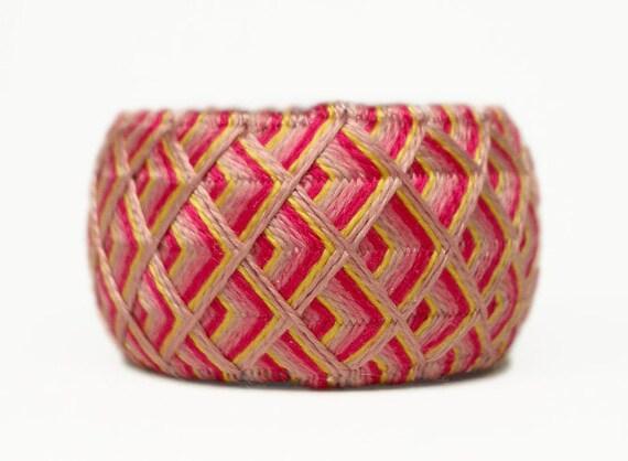 Yubinuki -Japanese traditional silk thimble- Pink Waves