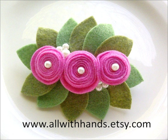 Romantic Hair barrette - Mauve felt rolled flowers and leaves by allwithhands