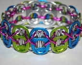 Lime Green and Blue Stretchy Pop Can Tab Bracelet with Metallic Pink String
