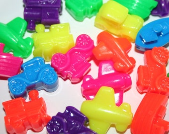 24 Neon Transportation Bead Charms in Neon Rainbow