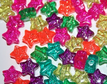 150 Glitter Rainbow Jelly Star Beads