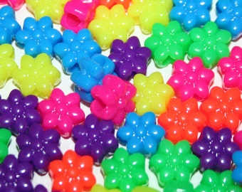 180 Neon Flower Beads in Rainbow