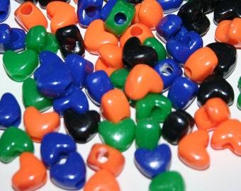 SALE - 339 Heart Beads in Multicolors Black Orange Blue Green
