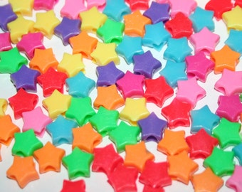200 Mini Star Beads in Rainbow Multicolors Plastic Pony Bead