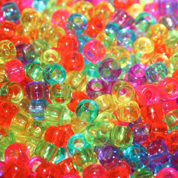 1000 Clear Jelly Pony Beads Multicolored