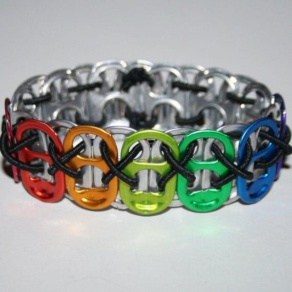 rainbow tab stretchy pop can tab bracelet 4 with xs