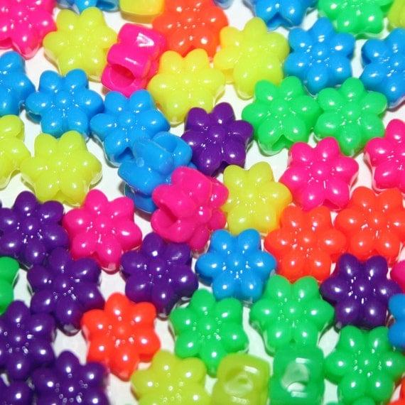 300 Neon Flower Beads in Rainbow