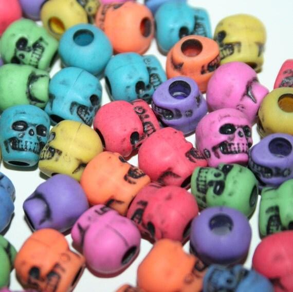 200 Rainbow Skull Beads