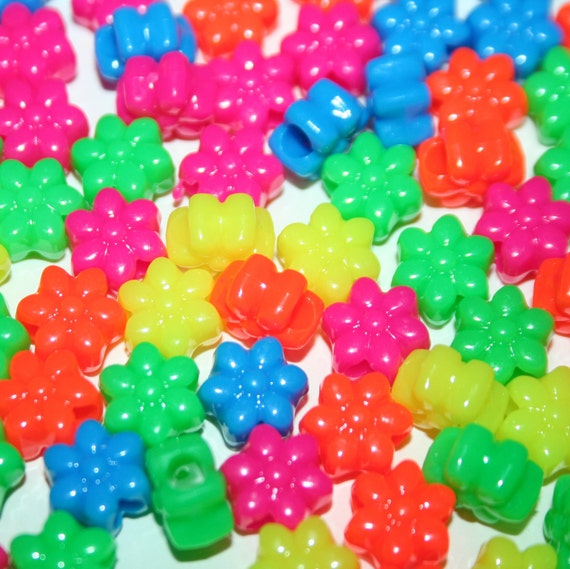 500 Neon Flower Beads in Rainbow