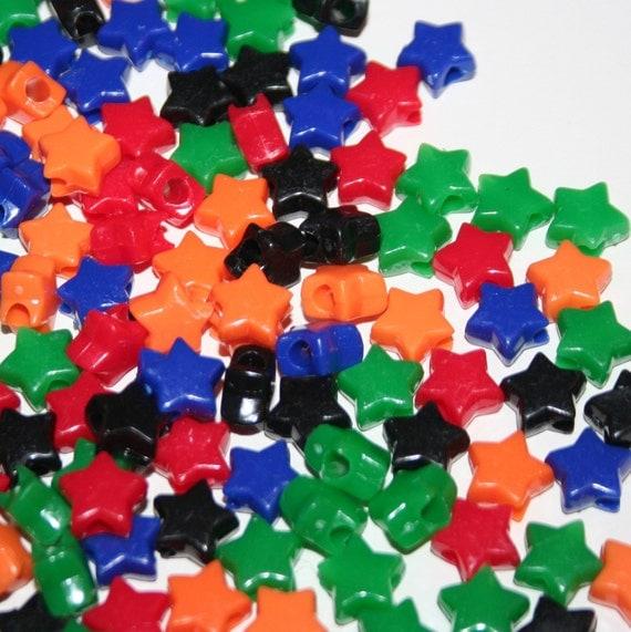 SALE - 250 Star Beads in Multicolors Red Black Orange Blue Green