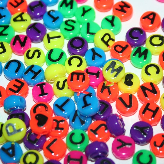 250 Neon Button Letter Beads in Rainbow Big Plastic Mirror Finish Letters Large