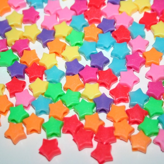 294 Mini Star Beads in Rainbow Multicolors Plastic Pony Bead