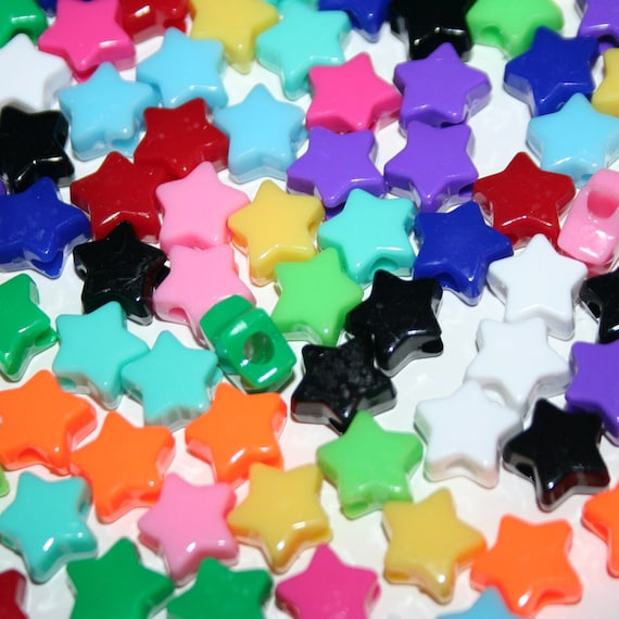 130 Star Beads in Rainbow 13 Colors Plastic Pony Bead