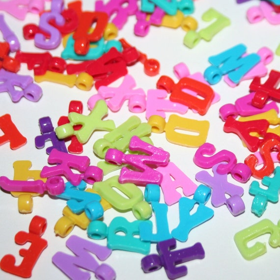 600 dangling letter in rainbow colors plastic pony charm