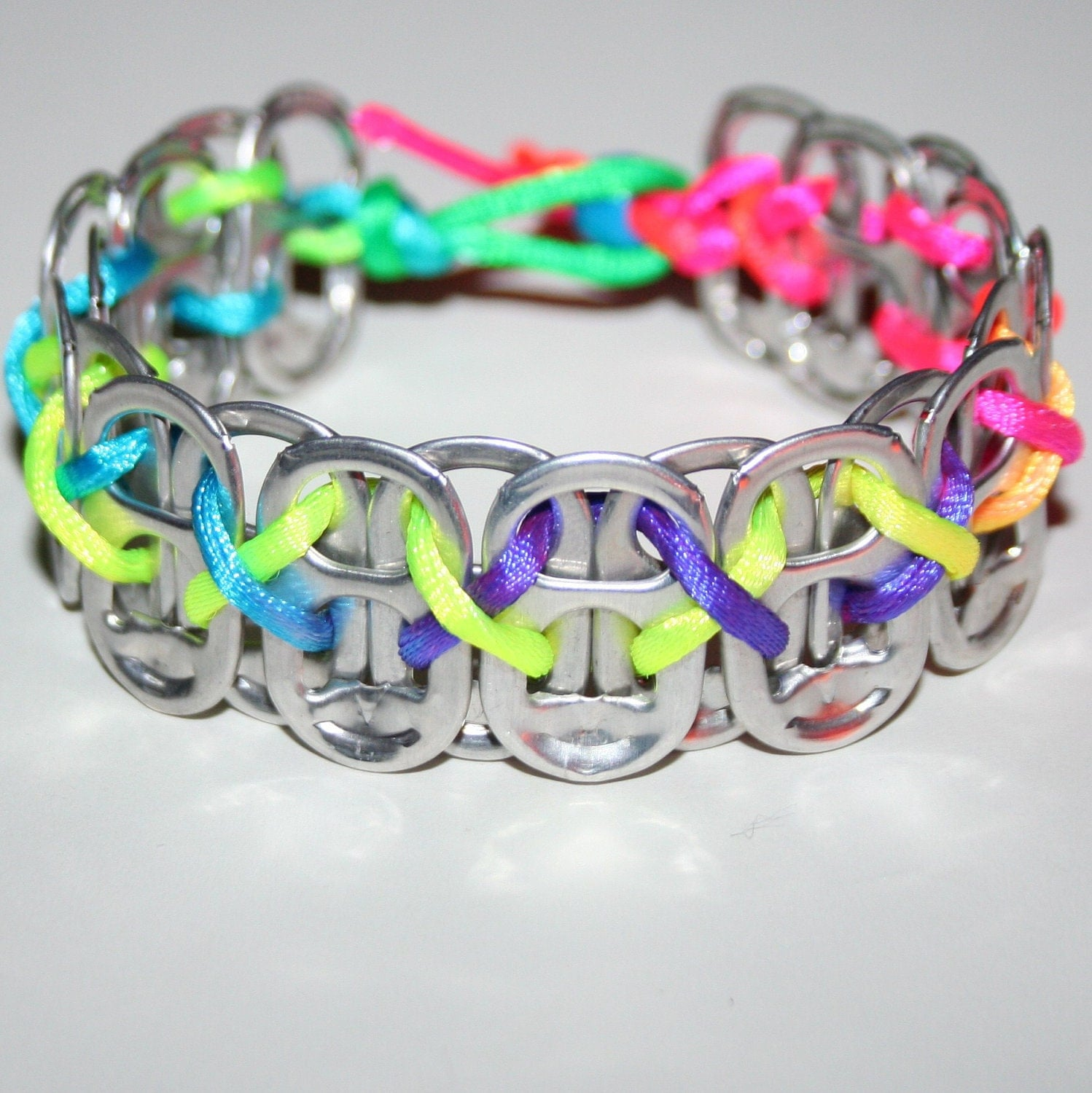 neon rainbow pop can tab bracelet with xs by eclectickel