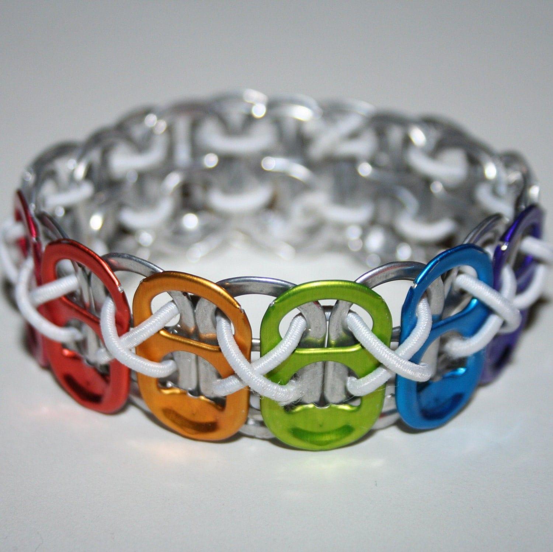 rainbow tab stretchy pop can tab bracelet with white string xs
