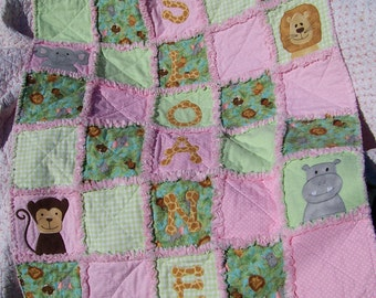 Jungle Babies Personalized Rag Quilt Baby Girl  (CUSTOM SIZES AVAILABLE)