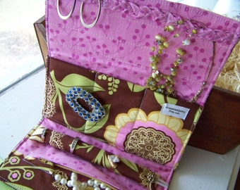 Travel Jewelry Clutch, Travel Jewelry Roll, Large Jewelry Organizer, Gift For Coworker, Gift Under 50 Dollars, Lotus And Lace