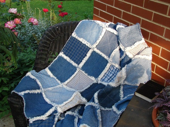 Upcycled Denim and Homespun Primitive Country Rag Quilt