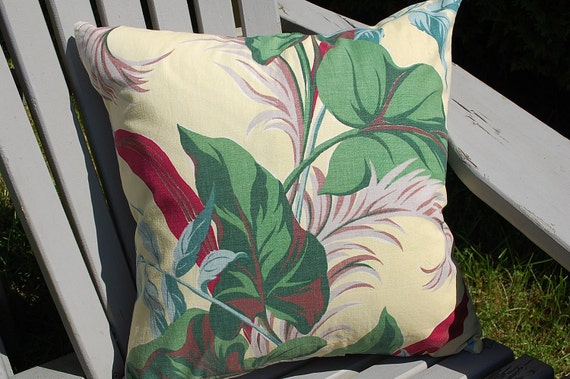 """Vintage Fabric Tropical  floral  cushion cover throw pillow 18"""" x 18"""""""