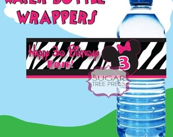 Printable Minnie Mouse Inspired Water Bottle Wrappers -  DIY