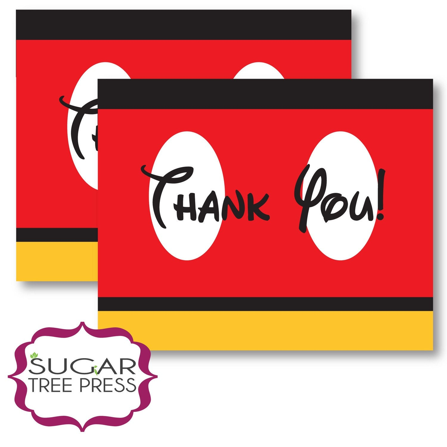 Printable Mickey Mouse Inspired Thank You Cards