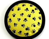 Catnip Toy, Paw Prints, Black and Yellow Cat Pillow, Novelty Fabric, Cute Cat Toys, KITTY WAS HERE