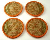 Coasters - Set of Four (Carrot, Beige, Olive Cotton Blend Fabric)