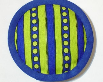 Catnip Toy, Catnip Toys, Spots and Stripes, Yale Blue, Chartreuse and Blue Toy, Modern Cat Toys, Handmade Cat Toys   STRIPEY BLUE CHARTREUSE