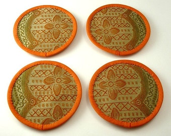 Round Fabric Coasters, Fall Color Coasters, Elegant Coasters, Exotic Coasters, OOAK Coasters, Set of Four Carrot, Beige, Olive Cotton-Blend