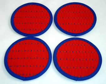 Fabric Coasters in Red Cotton, with Yale Blue and Green Stitching (Set of Four), Cotton Coasters,  Felt Back Coasters