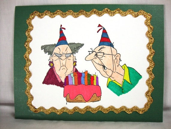 Old Woman and Old Man / Humorous - Funny Birthday Card for the Mature Adult in Your Life